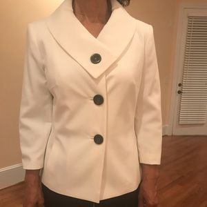 Emily, Two piece pant suit, cream and black, new